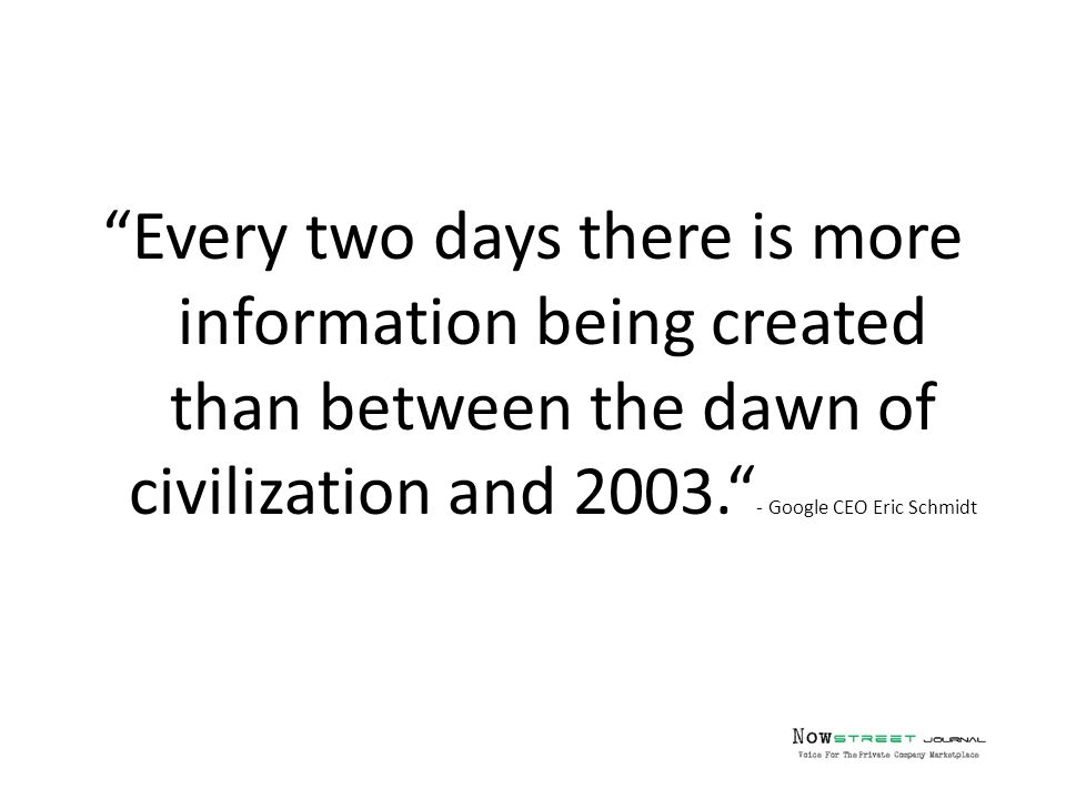Every two days there is more information being created than between the dawn of civilization and 2003. - Google CEO Eric Schmidt