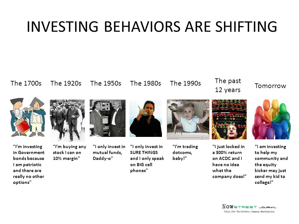 INVESTING BEHAVIORS ARE SHIFTING The 1700s Tomorrow The past 12 years The 1990sThe 1980sThe 1950sThe 1920s I'm investing in Government bonds because I am patriotic and there are really no other options I'm buying any stock I can on 10% margin I only invest in mutual funds, Daddy-o I only invest in SURE THINGS and I only speak on BIG cell phones I'm trading dotcoms, baby! I just locked in a 300% return on ACDC and I have no idea what the company does! I am investing to help my community and the equity kicker may just send my kid to college!