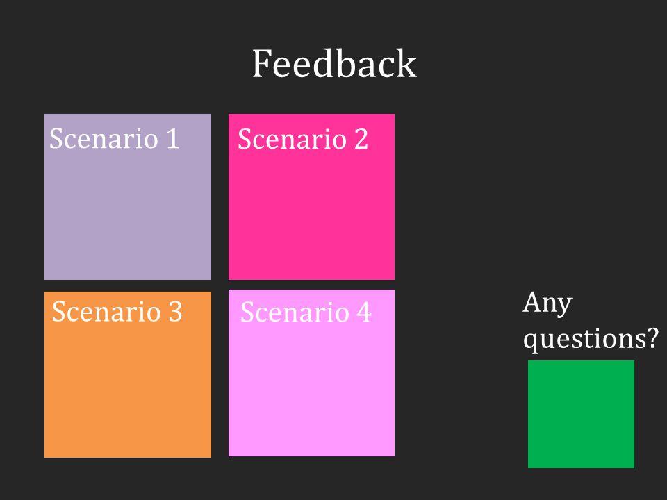 Feedback Scenario 1 Any questions Scenario 2 Scenario 3 Scenario 4