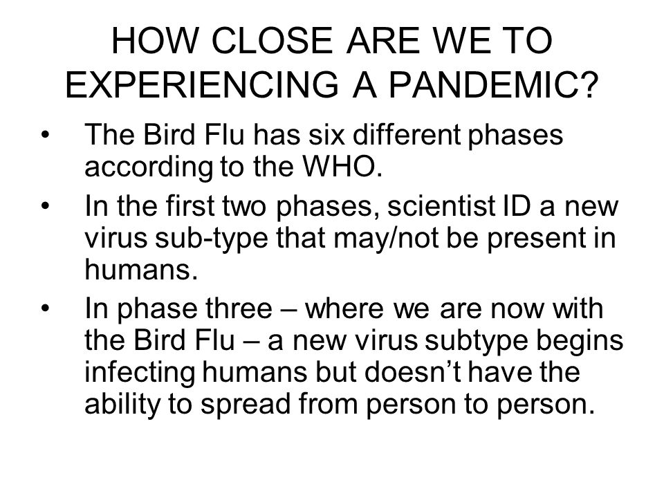 HOW CLOSE ARE WE TO EXPERIENCING A PANDEMIC? The Bird Flu has six different phases according to the WHO. In the first two phases, scientist ID a new v