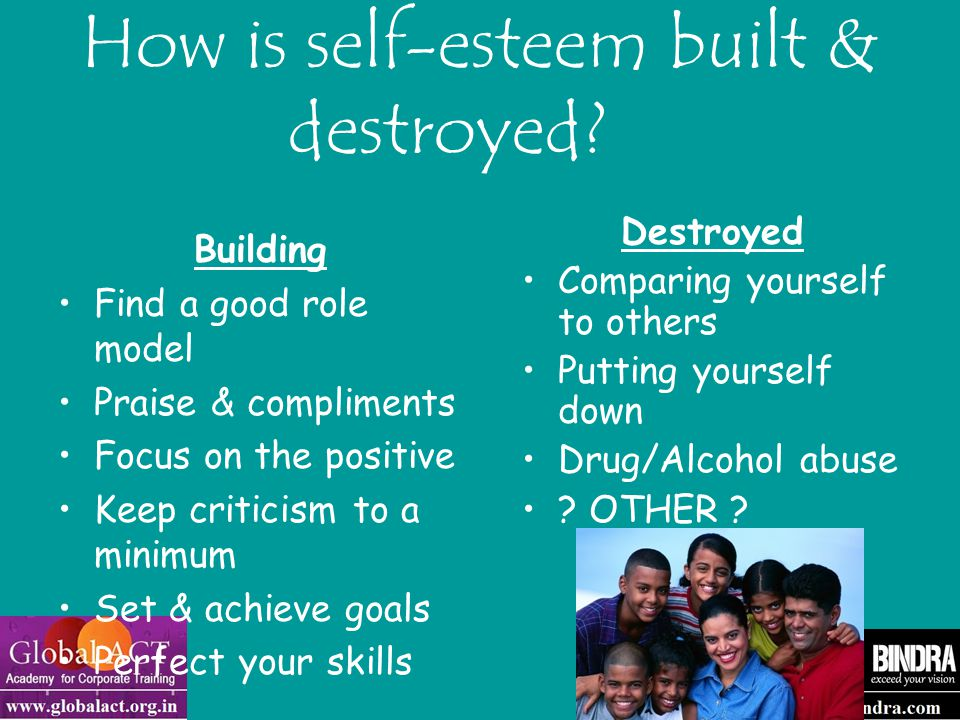 Tips for building Self Esteem Identify with people, books, videos, television shows, etc., that build your self-esteem Build others – give sincere compliments often Think positively.