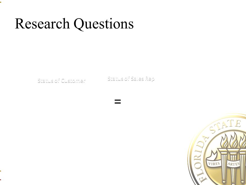 Research Questions = Status of Sales Rep Status of Customer