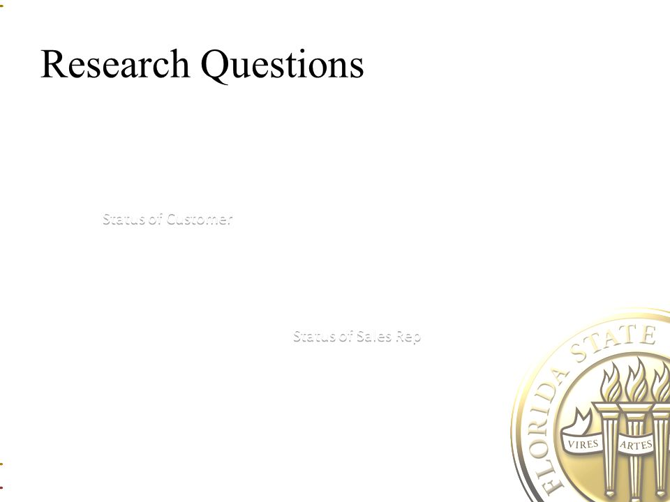Research Questions Status of Sales Rep Status of Customer