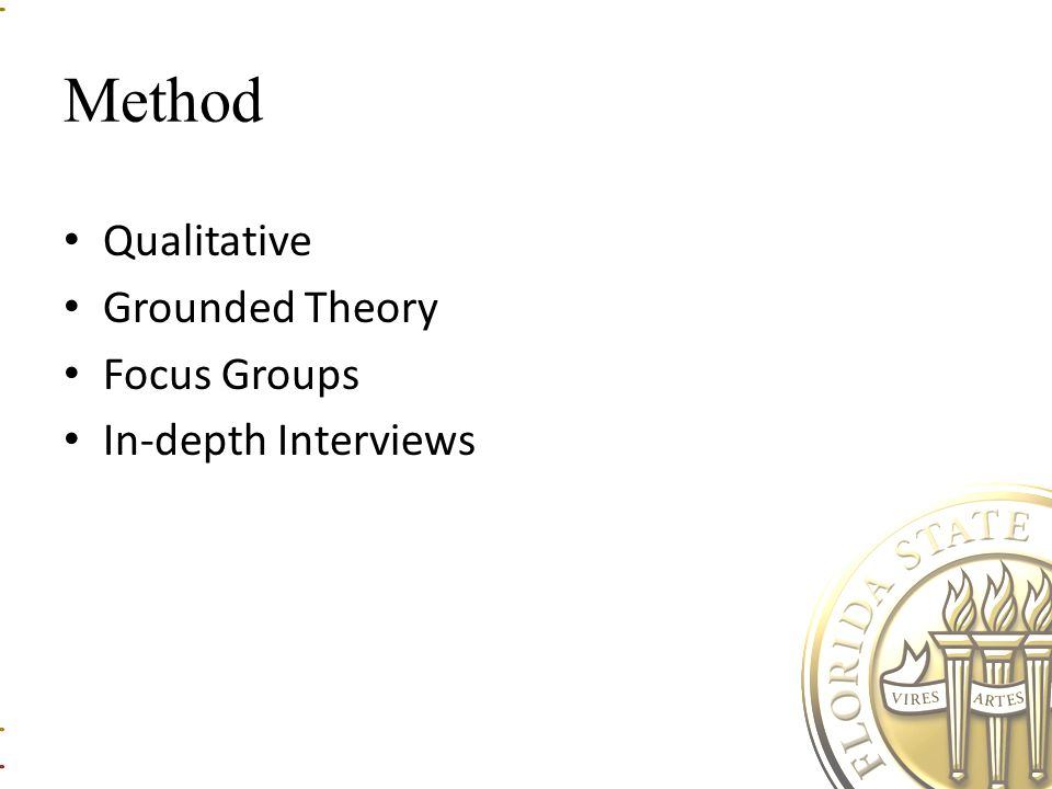 Method Qualitative Grounded Theory Focus Groups In-depth Interviews