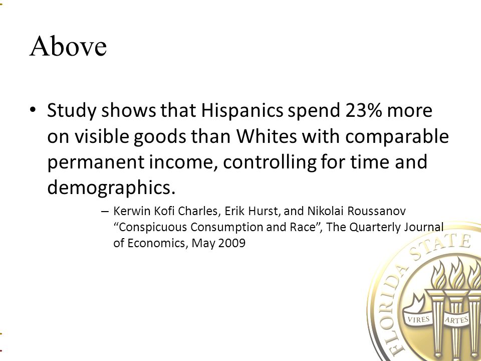 Above Study shows that Hispanics spend 23% more on visible goods than Whites with comparable permanent income, controlling for time and demographics.