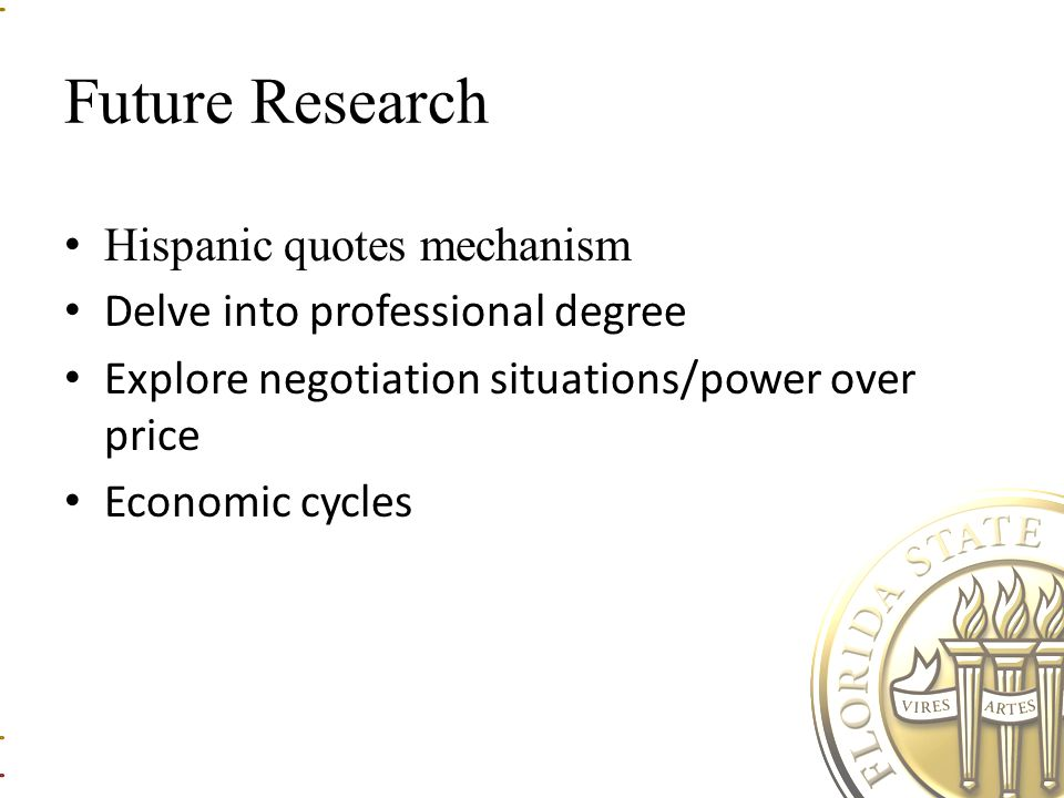 Future Research Hispanic quotes mechanism Delve into professional degree Explore negotiation situations/power over price Economic cycles