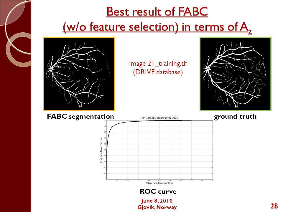 June 8, 2010 Gjøvik, Norway 28 Image 21_training.tif (DRIVE database) FABC segmentationground truth ROC curve