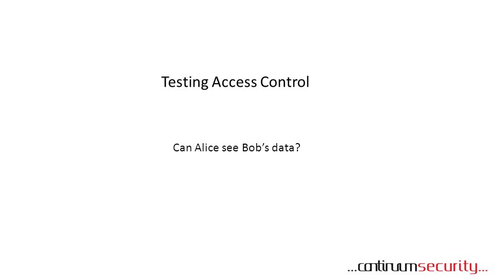 Testing Access Control Can Alice see Bob's data?