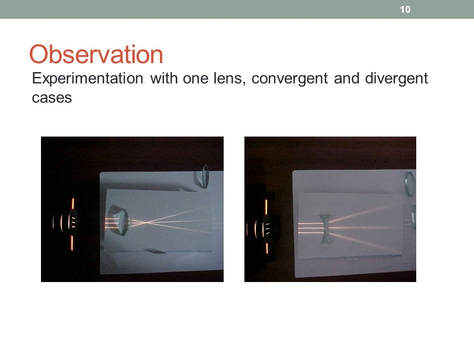 Observation Experimentation with one lens, convergent and divergent cases 10