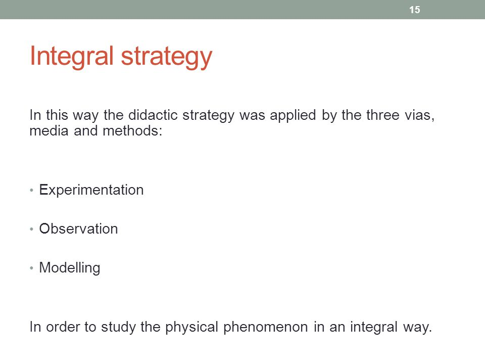Integral strategy In this way the didactic strategy was applied by the three vias, media and methods: Experimentation Observation Modelling In order to study the physical phenomenon in an integral way.