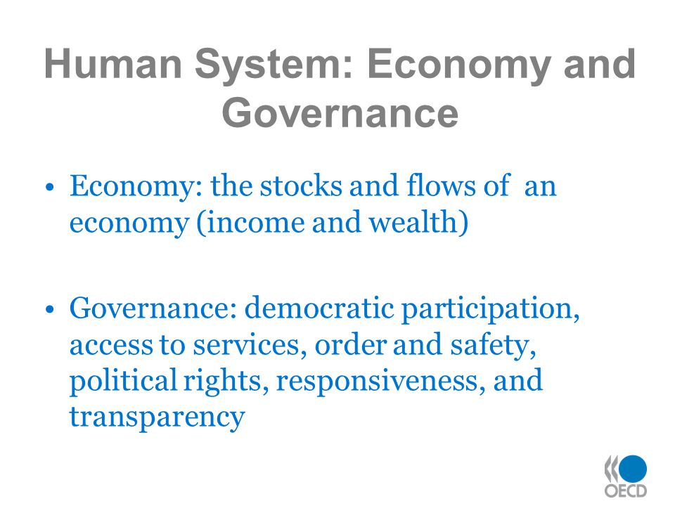 Economy: the stocks and flows of an economy (income and wealth) Governance: democratic participation, access to services, order and safety, political rights, responsiveness, and transparency