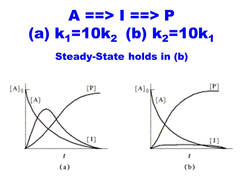 A ==> I ==> P (a) k 1 =10k 2 (b) k 2 =10k 1 Steady-State holds in (b)