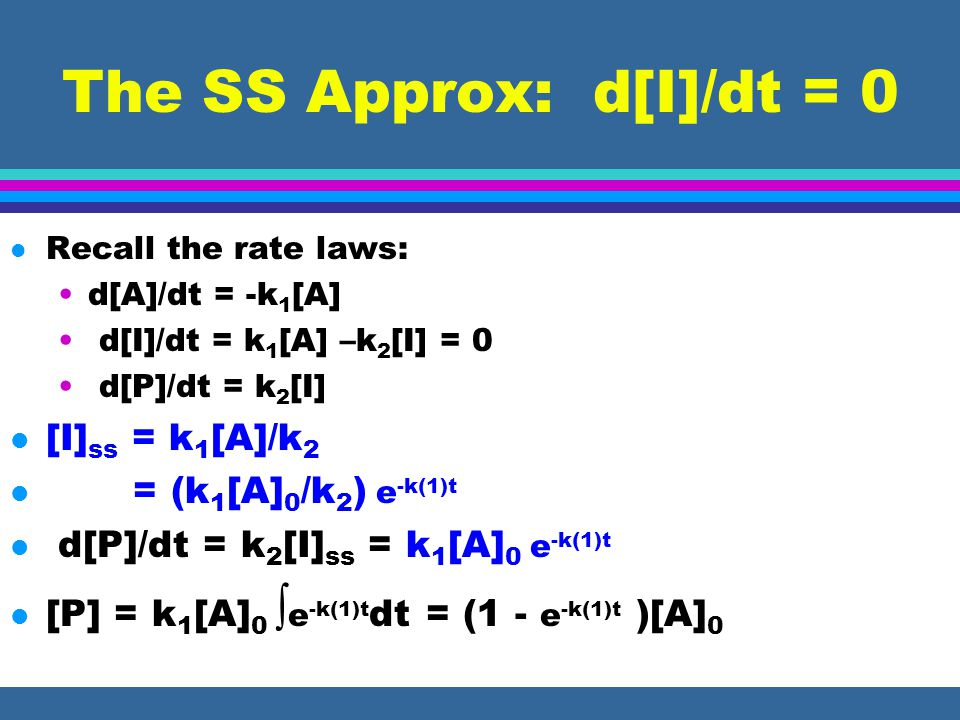 The SS Approx: d[I]/dt = 0 l Recall the rate laws: d[A]/dt = -k 1 [A] d[I]/dt = k 1 [A] –k 2 [I] = 0 d[P]/dt = k 2 [I] l [I] ss = k 1 [A]/k 2 l = (k 1