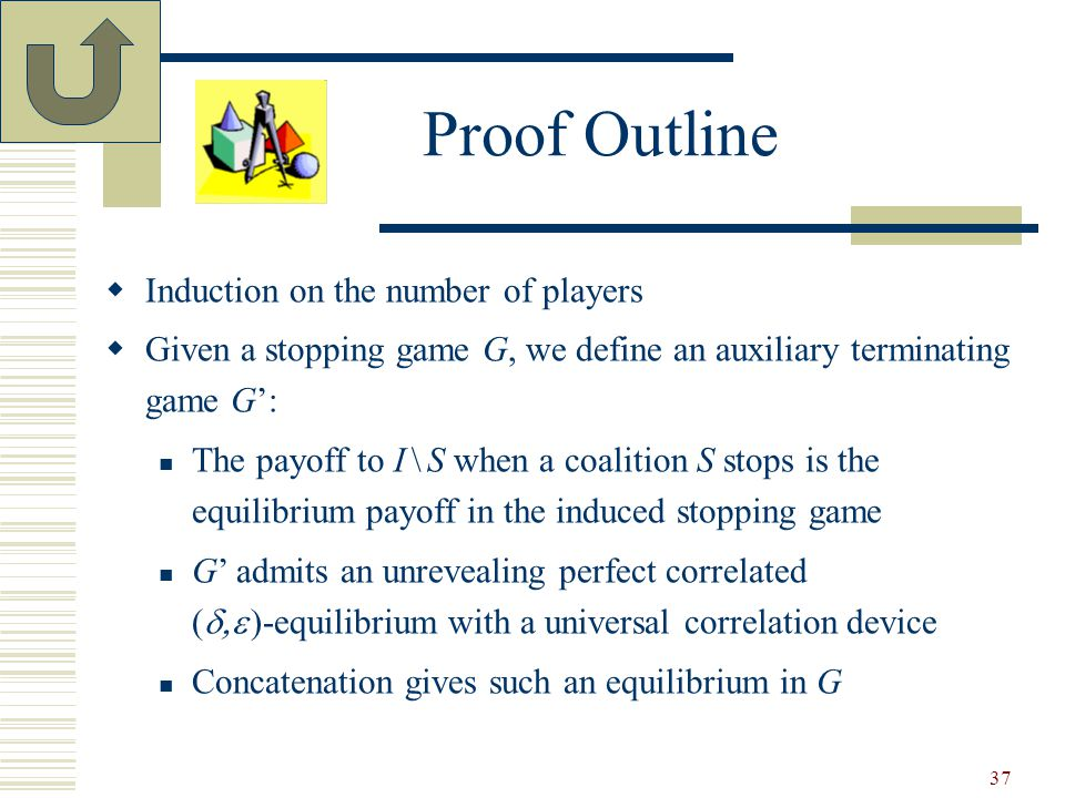 37 Proof Outline  Induction on the number of players  Given a stopping game G, we define an auxiliary terminating game G': The payoff to I \ S when a coalition S stops is the equilibrium payoff in the induced stopping game G' admits an unrevealing perfect correlated (   )-equilibrium with a universal correlation device Concatenation gives such an equilibrium in G