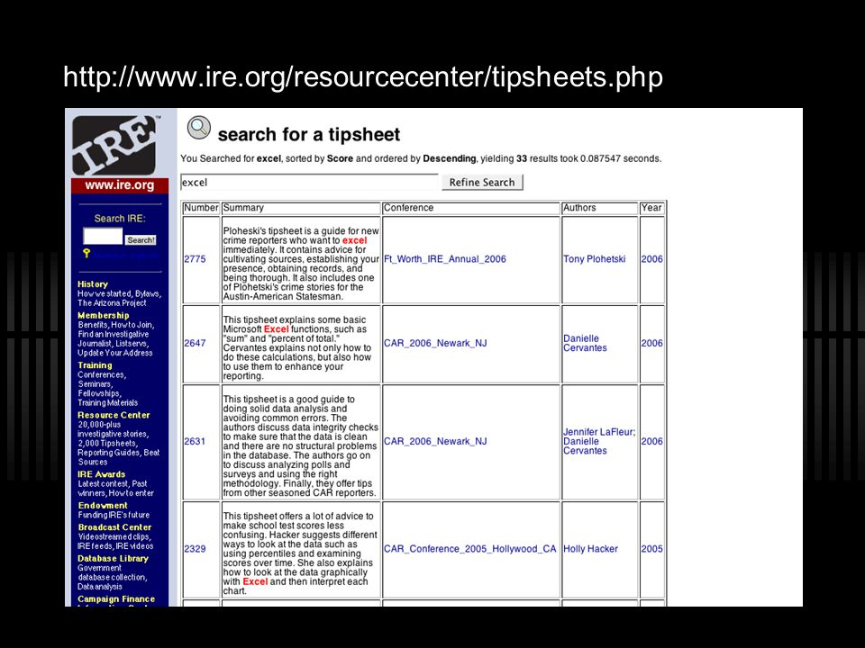 http://www.ire.org/resourcecenter/tipsheets.php