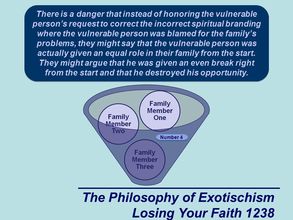 The Philosophy of Exotischism Losing Your Faith 1238 There is a danger that instead of honoring the vulnerable person's request to correct the incorrect spiritual branding where the vulnerable person was blamed for the family's problems, they might say that the vulnerable person was actually given an equal role in their family from the start.
