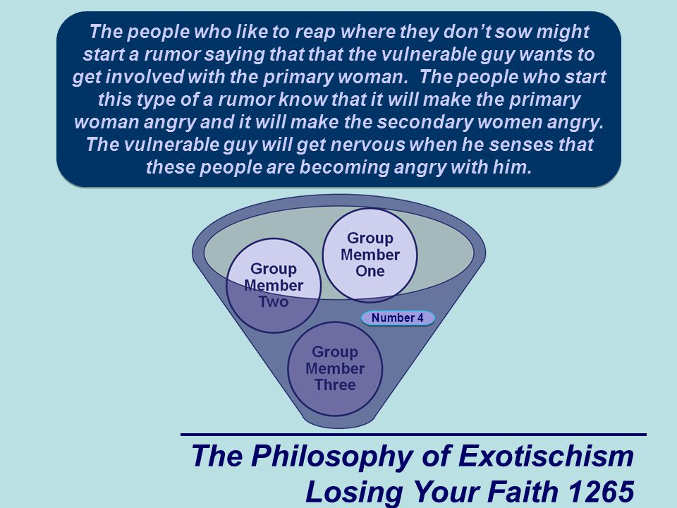 The Philosophy of Exotischism Losing Your Faith 1265 The people who like to reap where they don't sow might start a rumor saying that that the vulnerable guy wants to get involved with the primary woman.