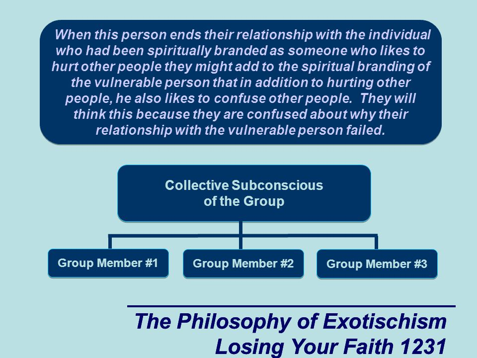 The Philosophy of Exotischism Losing Your Faith 1272 The Philosophy of Exotischism Losing Your Faith 1272 Collective Subconscious of the Group Group Member #1 Group Member #2 Group Member #3 The problem that the vulnerable guy faces when he is dealing with secondary women who like to reap where they don't sow is that he can sense at a very deep level that there is a magical exchange of spiritual energy taking place between himself and these secondary women.