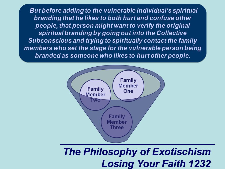 The Philosophy of Exotischism Losing Your Faith 1273 The Philosophy of Exotischism Losing Your Faith 1273 Collective Subconscious of the Group Group Member #1 Group Member #2 Group Member #3 After a woman who likes to reap where she doesn't sow (a rough woman) embarrasses the vulnerable guy in a group situation he might try to make friends with her hoping that by being nice to her he might be able to prevent her from embarrassing him in the future.