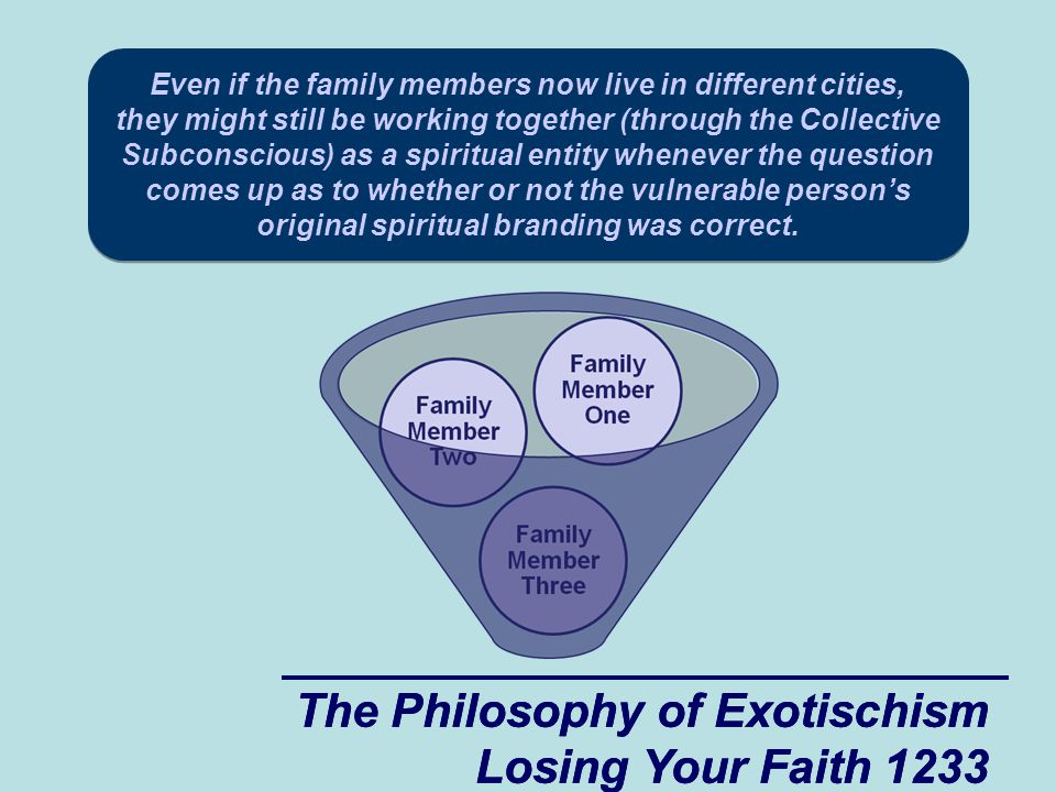 The Philosophy of Exotischism Losing Your Faith 1233 The Philosophy of Exotischism Losing Your Faith 1233 Even if the family members now live in different cities, they might still be working together (through the Collective Subconscious) as a spiritual entity whenever the question comes up as to whether or not the vulnerable person's original spiritual branding was correct.