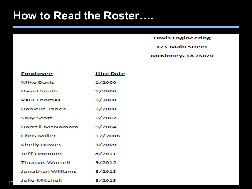 TMK1536 092910Agent training only. Not for sales use. How to Read the Roster….