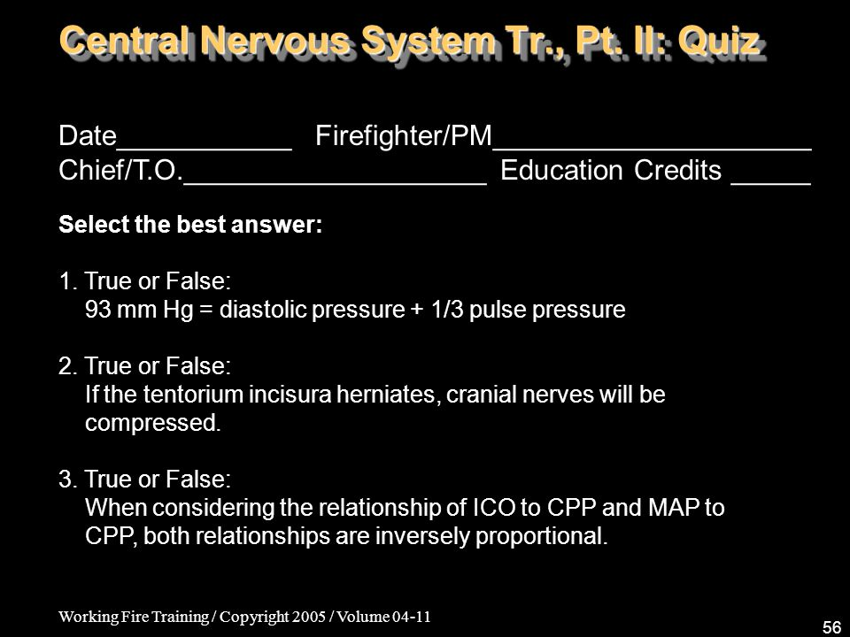 Working Fire Training / Copyright 2005 / Volume Central Nervous System Tr., Pt.