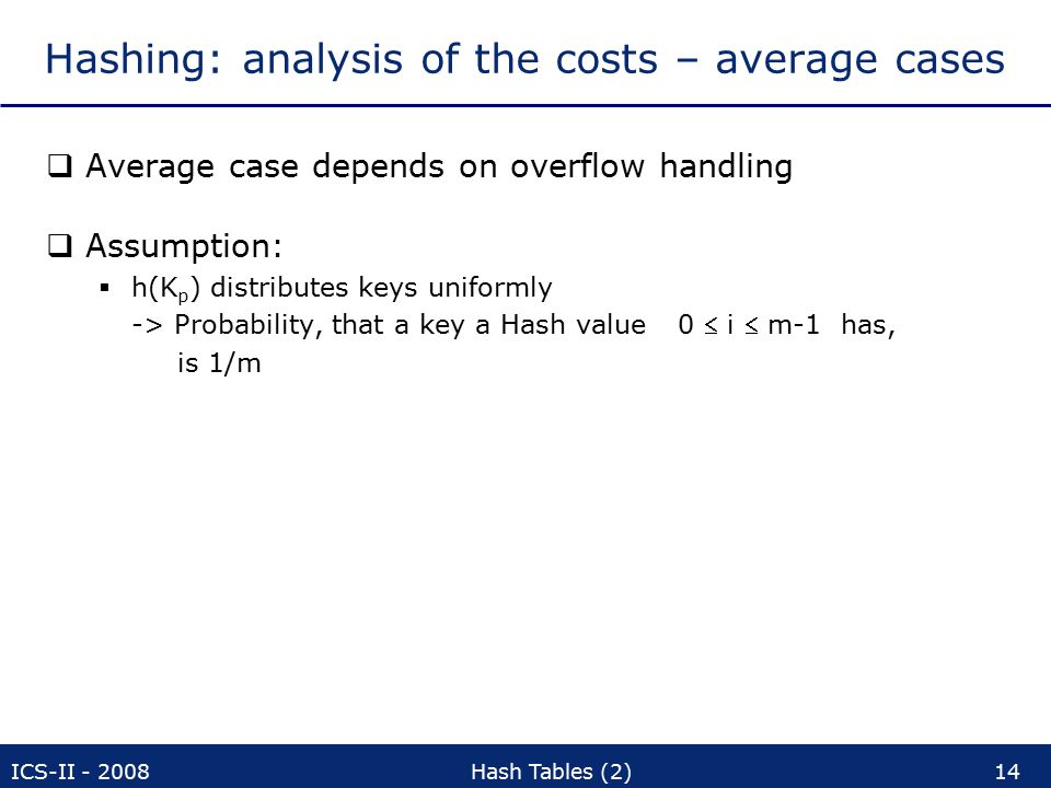 ICS-II - 2008Hash Tables (2)14 Hashing: analysis of the costs – average cases  Average case depends on overflow handling  Assumption:  h(K p ) distributes keys uniformly -> Probability, that a key a Hash value 0  i  m-1 has, is 1/m