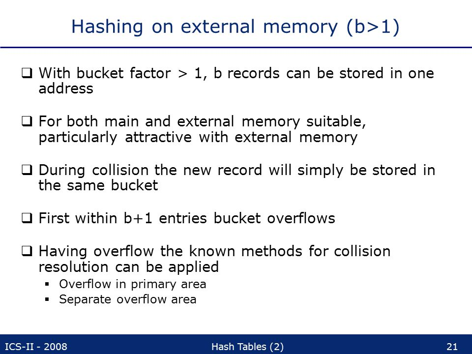 ICS-II - 2008Hash Tables (2)21 Hashing on external memory (b>1)  With bucket factor > 1, b records can be stored in one address  For both main and external memory suitable, particularly attractive with external memory  During collision the new record will simply be stored in the same bucket  First within b+1 entries bucket overflows  Having overflow the known methods for collision resolution can be applied  Overflow in primary area  Separate overflow area