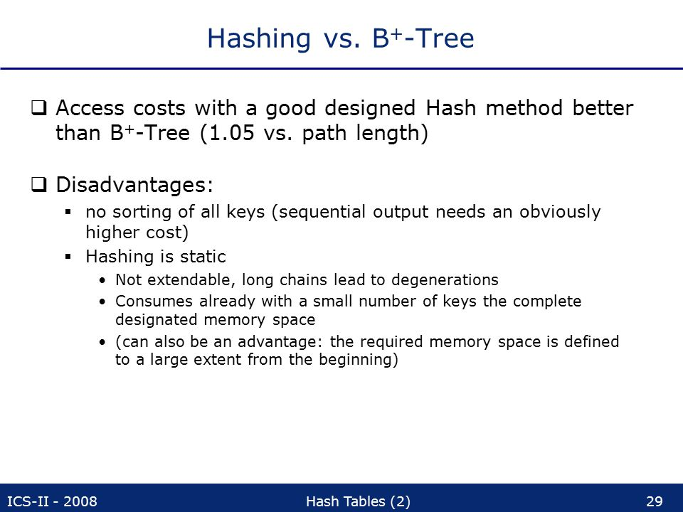 ICS-II - 2008Hash Tables (2)29 Hashing vs.