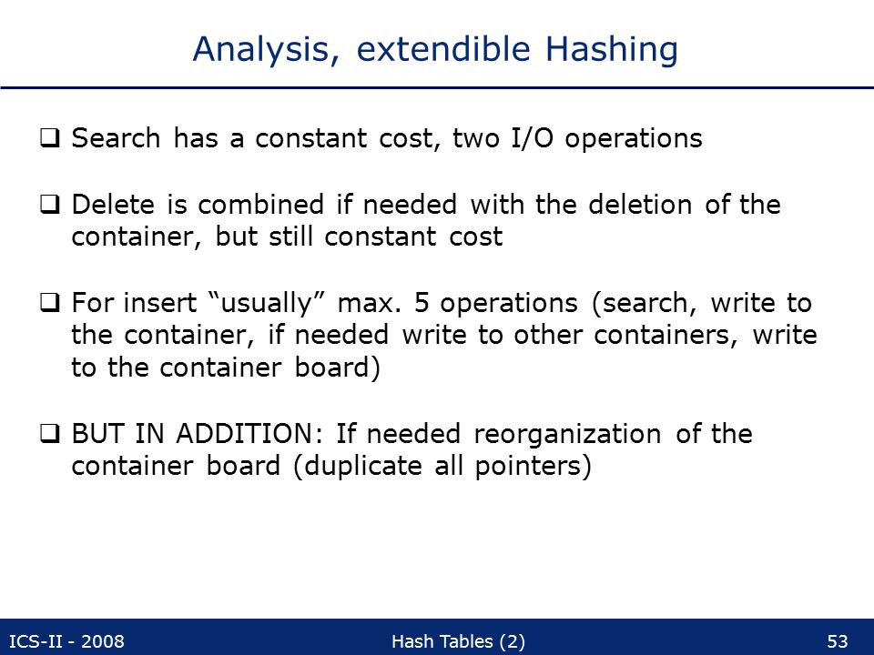 ICS-II - 2008Hash Tables (2)53 Analysis, extendible Hashing  Search has a constant cost, two I/O operations  Delete is combined if needed with the deletion of the container, but still constant cost  For insert usually max.