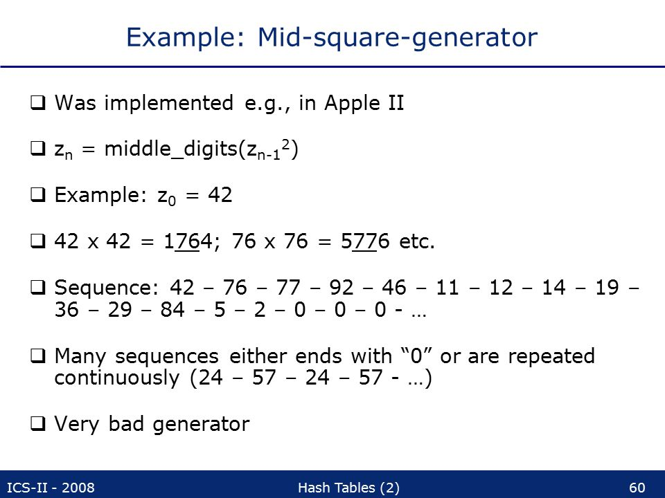 ICS-II - 2008Hash Tables (2)60 Example: Mid-square-generator  Was implemented e.g., in Apple II  z n = middle_digits(z n-1 2 )  Example: z 0 = 42  42 x 42 = 1764; 76 x 76 = 5776 etc.