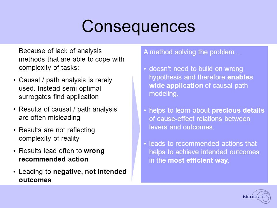 Consequences Because of lack of analysis methods that are able to cope with complexity of tasks: Causal / path analysis is rarely used.