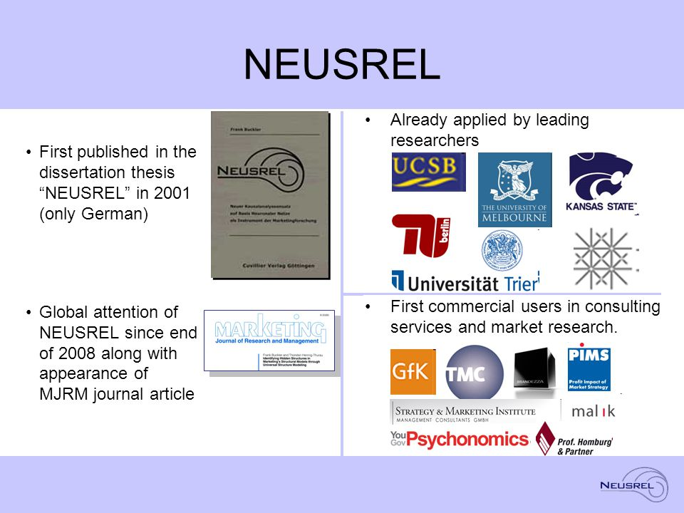 NEUSREL First published in the dissertation thesis NEUSREL in 2001 (only German) Global attention of NEUSREL since end of 2008 along with appearance of MJRM journal article Already applied by leading researchers First commercial users in consulting services and market research.