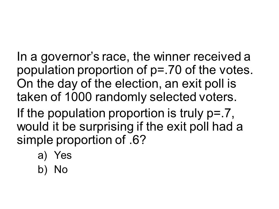 In a governor's race, the winner received a population proportion of p=.70 of the votes.