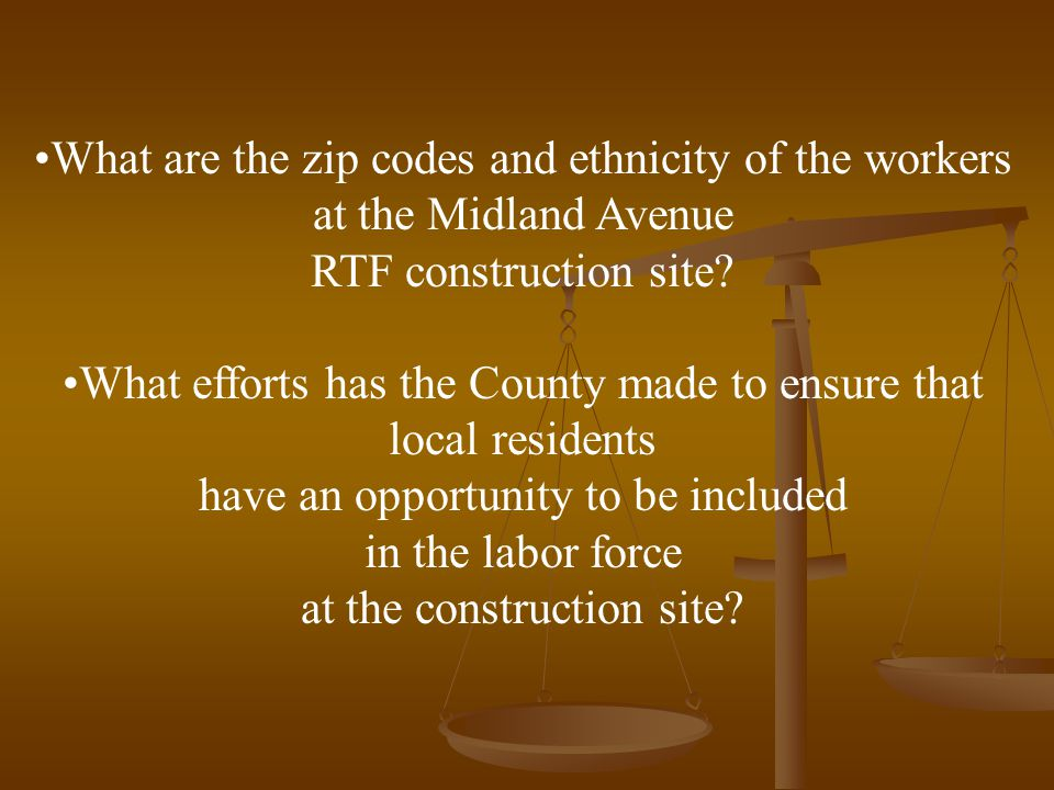 What are the zip codes and ethnicity of the workers at the Midland Avenue RTF construction site.
