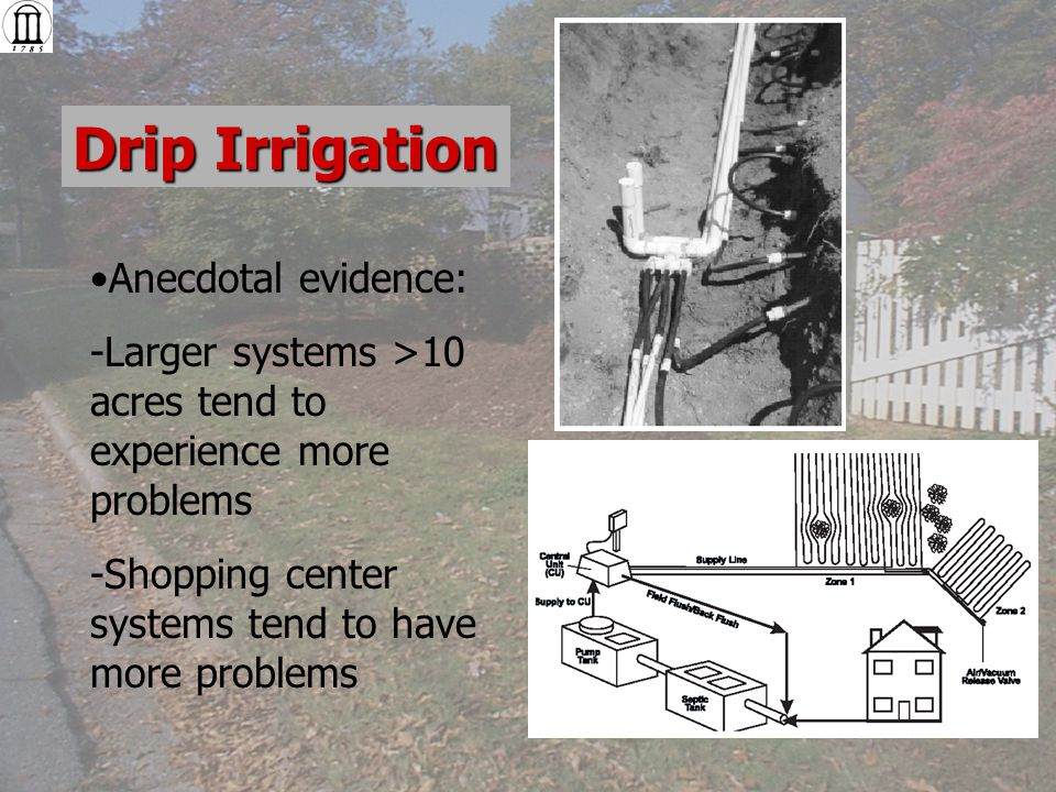 Drip Irrigation Anecdotal evidence: -Larger systems >10 acres tend to experience more problems -Shopping center systems tend to have more problems