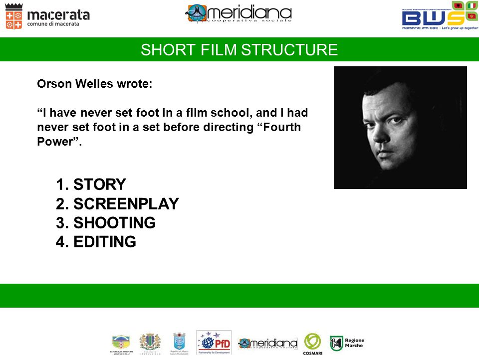 """SHORT FILM STRUCTURE Orson Welles wrote: """"I have never set foot in a film school, and I had never set foot in a set before directing """"Fourth Power"""". 1"""