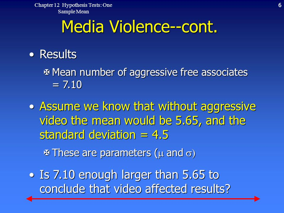 6Chapter 12 Hypothesis Tests: One Sample Mean Media Violence--cont.
