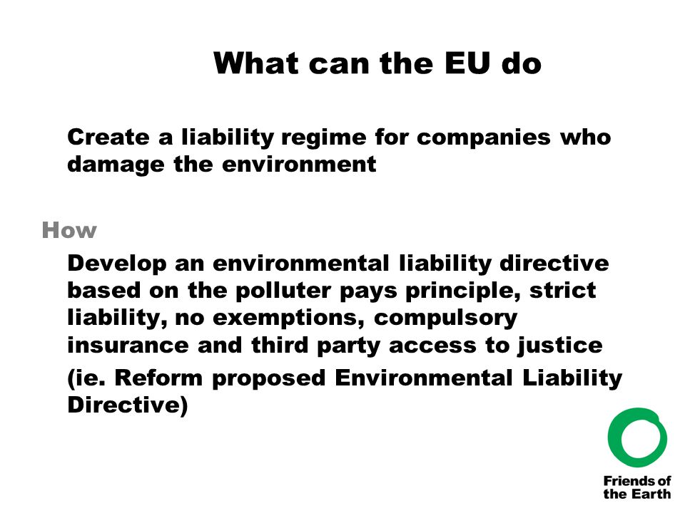 What can the EU do Create a liability regime for companies who damage the environment How Develop an environmental liability directive based on the po