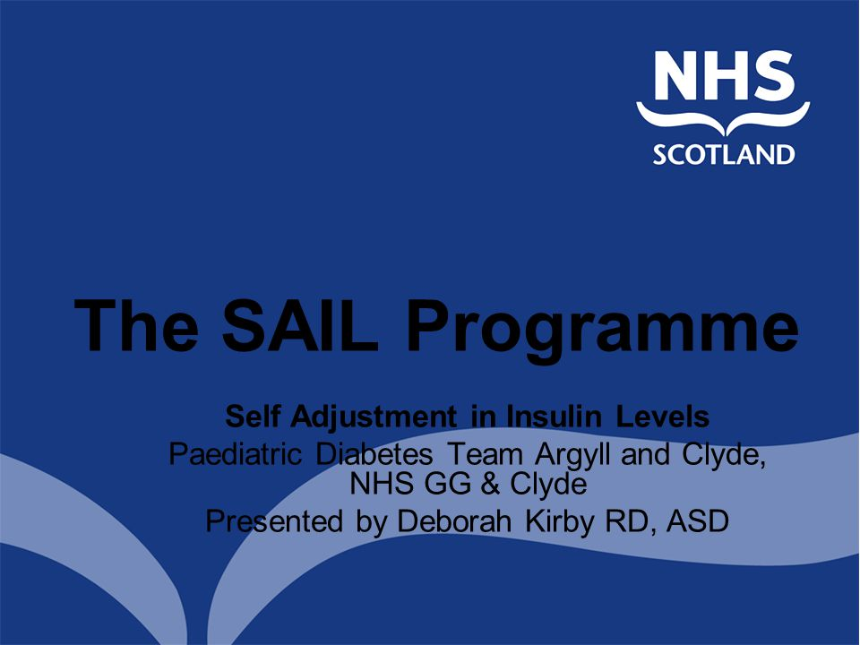Self Adjustment in Insulin Levels Paediatric Diabetes Team Argyll and Clyde, NHS GG & Clyde Presented by Deborah Kirby RD, ASD The SAIL Programme
