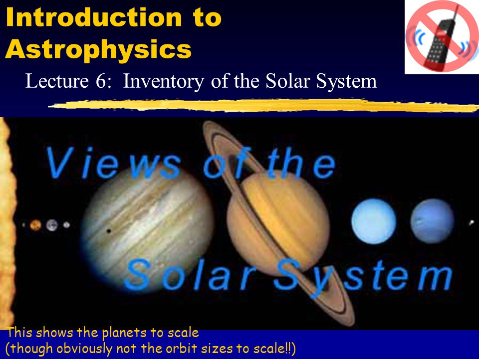 Introduction to Astrophysics Lecture 6: Inventory of the Solar System This shows the planets to scale (though obviously not the orbit sizes to scale!!)