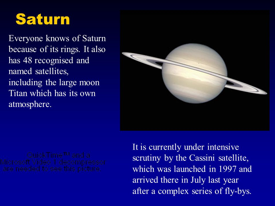 Saturn Everyone knows of Saturn because of its rings.