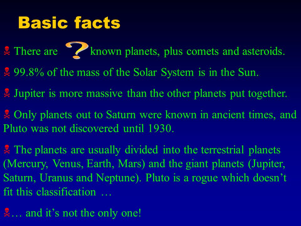 Basic facts  There are known planets, plus comets and asteroids.