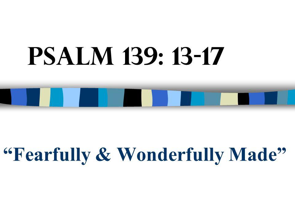 """Fearfully & Wonderfully Made"" Psalm 139: 13-17"