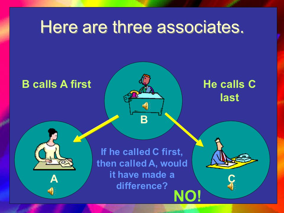 Let's look at another hypothetical situation Three people work together. Associate B needs to call Associates A and C to share some news. Does it matt