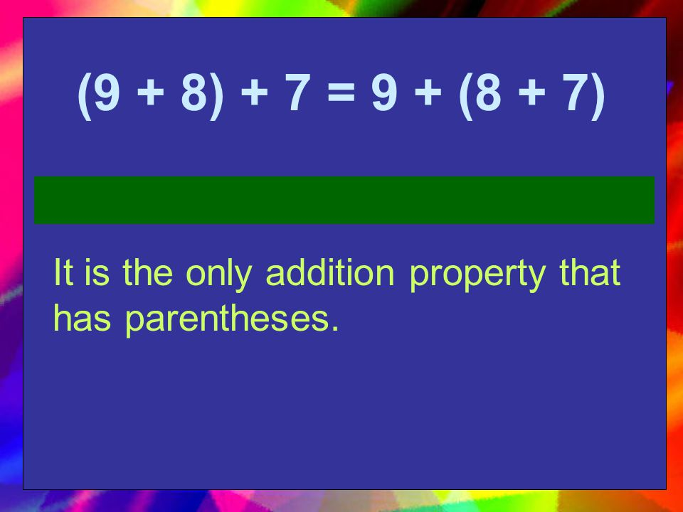 Let's practice ! Look at the problem. Identify which property it represents.