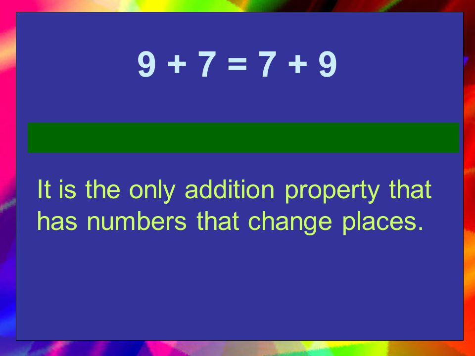 12 + 0 = 12 It is the only addition property that has two addends and one of them is a zero.