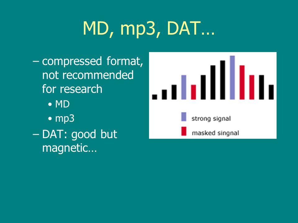 Quantization and Sampling Rates CD: 16 bit/44.1 kHz/stereo, 12 cm Disc: 650–700 MBCD: 16 bit/44.1 kHz/stereo –Red Book standard 1980 DVD: 24 bit/96 kHz, 4.7 GB –1998 SACD: 2.8 MHz, 4.7 GB –1999