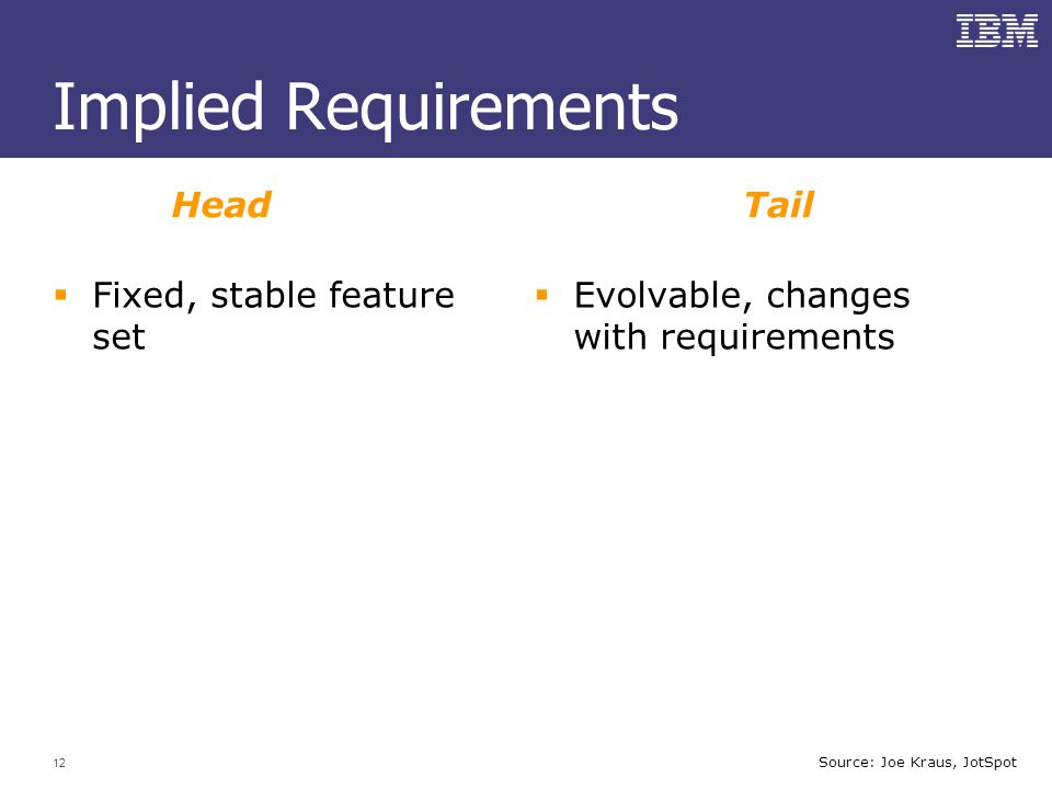 12  Fixed, stable feature set  Evolvable, changes with requirements Implied Requirements HeadTail Source: Joe Kraus, JotSpot