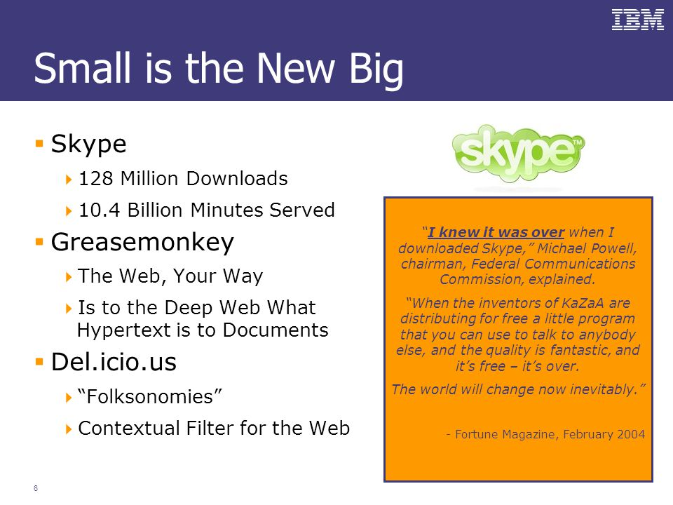 6 Small is the New Big  Skype  128 Million Downloads  10.4 Billion Minutes Served  Greasemonkey  The Web, Your Way  Is to the Deep Web What Hypertext is to Documents  Del.icio.us  Folksonomies  Contextual Filter for the Web I knew it was over when I downloaded Skype, Michael Powell, chairman, Federal Communications Commission, explained.